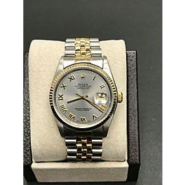 Rolex 16233 Datejust Silver Roman Dial 18K Yellow Gold & Steel