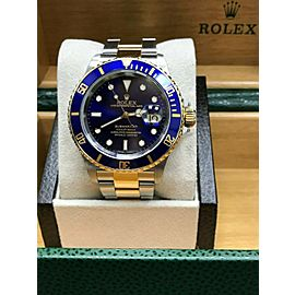 Rolex Submariner 16613 Blue Dial 18K Yellow Gold & Stainless Steel MINT