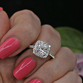 Beautiful 18k White Gold Engagement Ring featured with 1.92ct. TCW