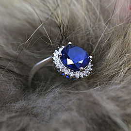 14k White Gold Cocktail Ring with 9.00ct. Diffused Blue Sapphire and 1.25ct. DIA