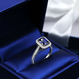 18k White Gold Cocktail Ring features with 2.20ct. Deffused Blue Sapphire