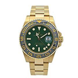 Rolex GMT-Master II 18k Yellow Gold w/ Green Dial & Black Ceramic Bezel 116718LN