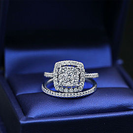 Nice 10k White Gold Engagement Ring with 1.00ct. Total Diamond Weight
