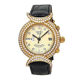 Chatila Worldtime 18k Yellow Gold Diamond Bezel Automatic Ladies Watch