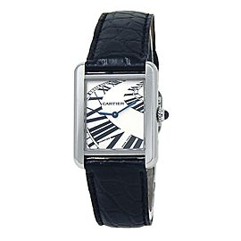 "Cartier Tank Solo ""Railroad"" Stainless Steel Swiss Quartz Ladies Watch 3170"
