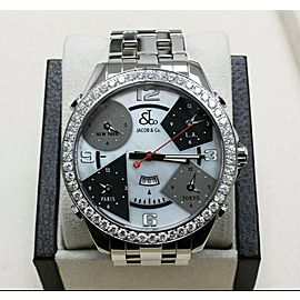 Jacob & Co. Five Time Zone MOP Dial Diamond Bezel Stainless Steel