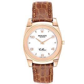 Rolex Cellini Cestello 18K Rose Gold White Dial Mens Watch 5330