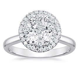 Round Halo Cluster Engagement Ring with 0.68ct. of Total Diamond Weight