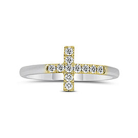 Two Tone Cross Ring With 0.17ct. of Total Diamond Weight