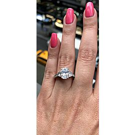 Platinum Engagement Ring With Center Diamond 2.14ct. Oval Shape