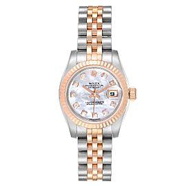 Rolex Datejust Steel EveRose Gold MOP Diamond Ladies Watch 179171