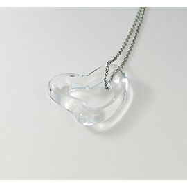 Tiffany & Co. Peretti Large Rock Crystal Quartz Open Heart Pendant Platinum Chain