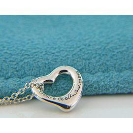 Tiffany & Co. Elsa Peretti Pink Rhodonite & Silver Open Heart Pendant Necklace