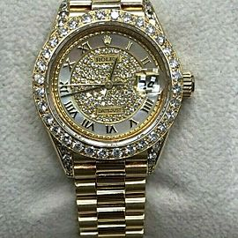 Rolex Ladies President 69178 MOP Diamond Dial Bezel Lugs 18K Yellow Gold