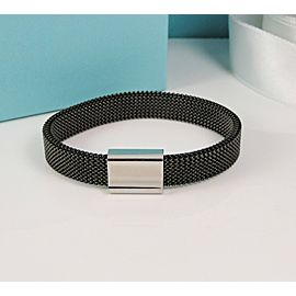Tiffany & Co. Midnight Black Stretch Somerset Mesh Steel Bracelet Concave Bar