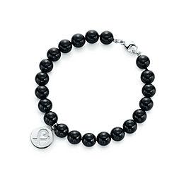 NEW Tiffany & Co Loving Heart Black Onyx 8 mm Bead Bracelet Paloma Picasso