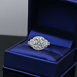 Precious 18k White Gold AGI Certified Engagement Ring with 4.79ct. Diamonds