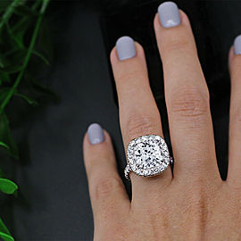 Amazing 14k White Gold Engagement Ring with 10.19ct. Total Diamonds