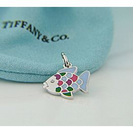 Tiffany & Co Lacquer Rainbow Fish w/ Diamond 18K WG Charm or Pendant