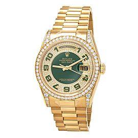 Rolex Day-Date 18k Yellow Gold Diamond Dial & Bezel Automatic Men's Watch 118388