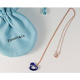 Tiffany & Co Elsa Peretti Lapis Lazuli Open Heart Gemstone Pendant 18K RG Chain