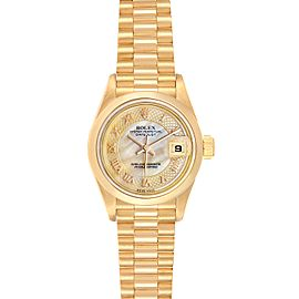 Rolex President Datejust Yellow Gold Decorated MOP Dial Ladies Watch 79168