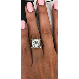 Perfect White Gold Engagement Ring with 6.38ct. Princess Cut Diamond