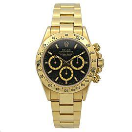 Men's Rolex Daytona Zenith Movement 18k Yellow Gold w/ Black Dial 16528