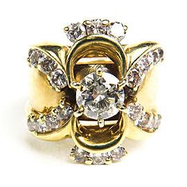 Diamond Ring - 14K Yellow Gold - Large Center & Small Diamond Design - 7.5