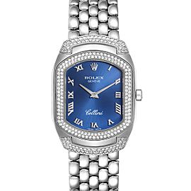 Rolex Cellini Cellissima Blue Dial White Gold Diamond Ladies Watch 6693