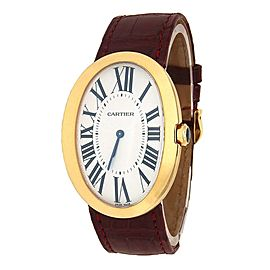 Cartier Baignoire 18k Yellow Gold Leather Manual Silver Ladies Watch W8000013