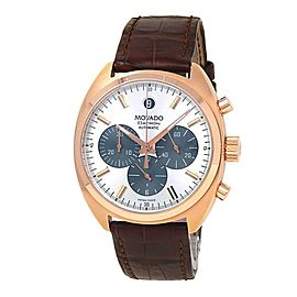 Movado Datron 18k Rose Gold Chronograph Automatic Silver Men's Watch 606377