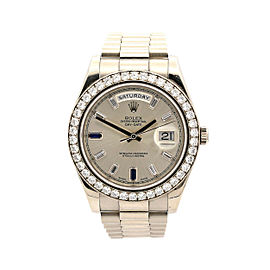 Men's Rolex Day-Date II 41mm, 18k White Gold, Silver Dial, 218349