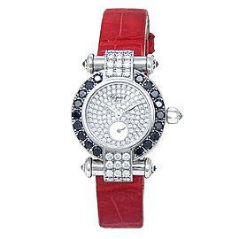Chopard Imperiale 18k White Gold Leather Diamonds Quartz Ladies Watch 39/6168-50