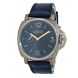 Panerai Luminor Titanium Leather Manual Blue Men's Watch PAM00728