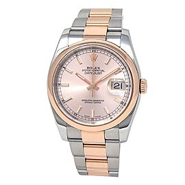 Rolex Datejust 18k Rose Gold Stainless Steel Oyster Auto Pink Men's Watch 116231