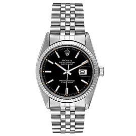 Rolex Datejust Vintage Steel White Gold Black Dial Mens Watch 16014