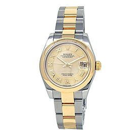 Rolex Datejust 18k Yellow Gold Steel Auto Champagne MOP Midsize Watch 278243