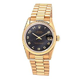Rolex Datejust 18k Yellow Gold President Automatic Black Midsize Watch 68278