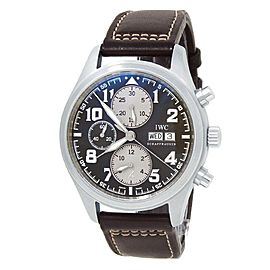 IWC Pilot's Saint Exupery Stainless Steel Leather Brown Men's Watch IW371709