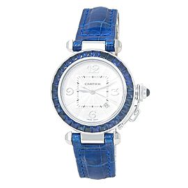 Cartier Pasha 18k White Gold Leather Blue Sapphire Auto Silver Ladies Watch 2398