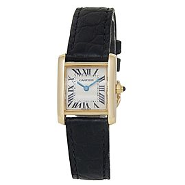 Cartier Tank Francaise 18k Yellow Gold Leather Quartz White Ladies Watch 2385