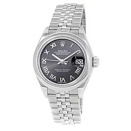 Rolex Datejust Stainless Steel Jubilee Automatic Dark Grey Ladies Watch 279160