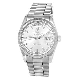 Rolex Day-Date 18k White Gold President Automatic Silver Men's Watch 128239