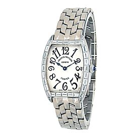 Franck Muller Cintree Curvex 18k White Gold Quartz Silver Watch 1752 QZ BAG