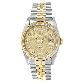 Rolex Datejust 18k Yellow Gold Steel Diamonds Champagne Jubilee Mens Watch 16233