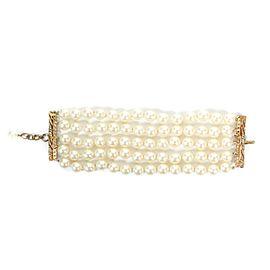 Chanel - Pearl Bracelet - Multi-Strand - Vintage - Gold - White CC