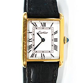 Cartier - Watch - Tank - Gold Frame - Black Leather Band - 23 mm - Unisex