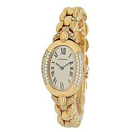 Cartier Baignoire 18k Yellow Gold Diamonds Quartz White Ladies Watch 8057912