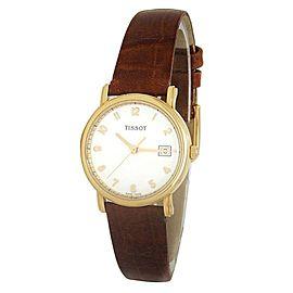 Tissot Classic 18k Yellow Gold Brown Leather Quartz White Ladies Watch H64333000